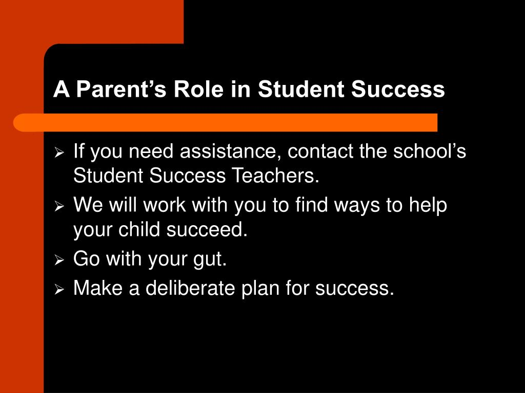 A Parent's Role in Student Success