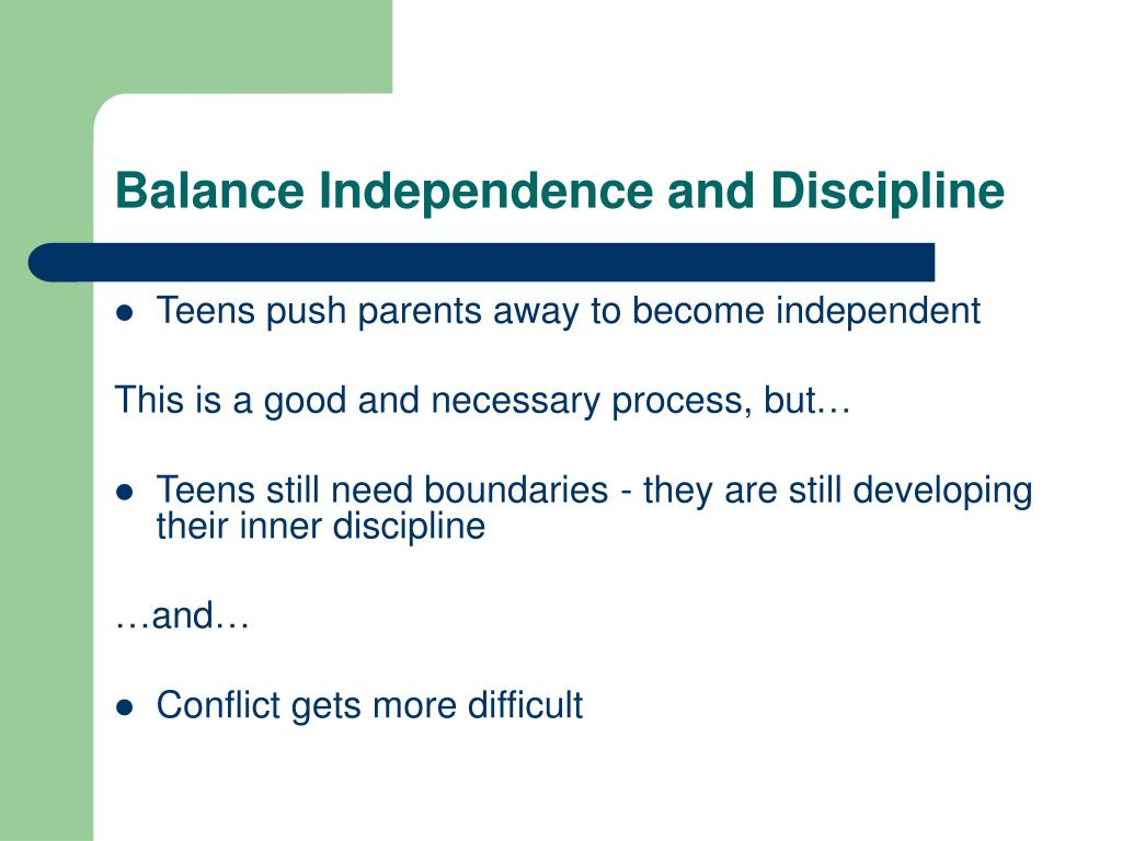 Balance Independence and Discipline