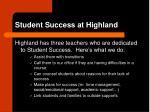 student success at highland