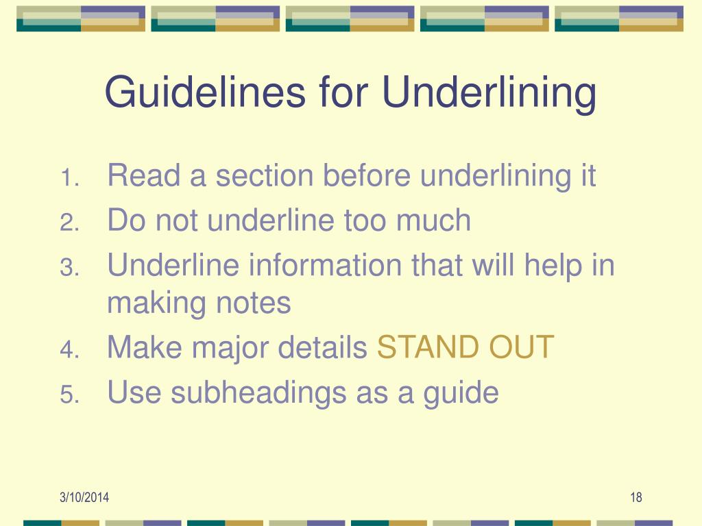Guidelines for Underlining