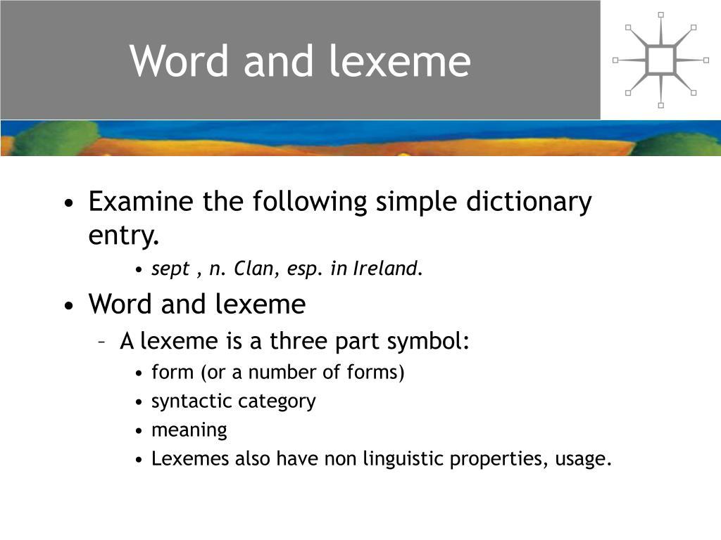 Word and lexeme