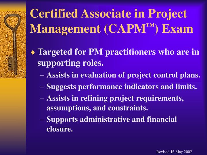 Certified associate in project management capm exam