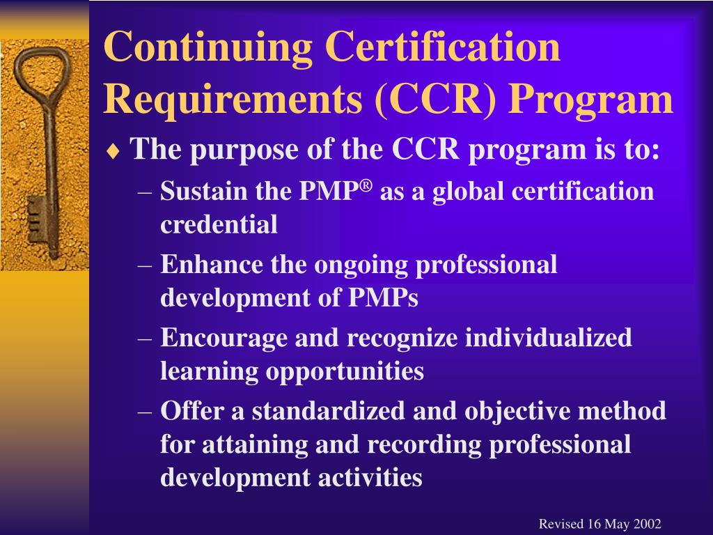 Continuing Certification Requirements (CCR) Program