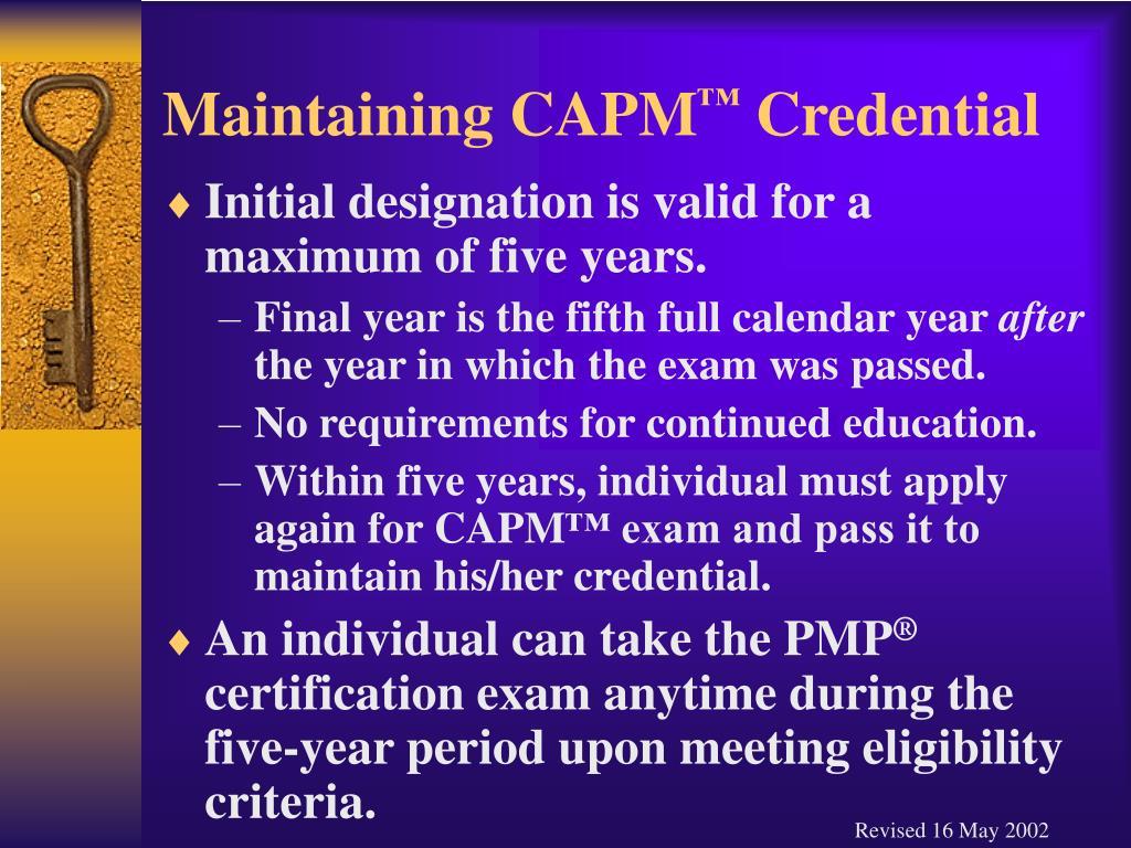 Maintaining CAPM