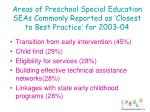 areas of preschool special education seas commonly reported as closest to best practice for 2003 04