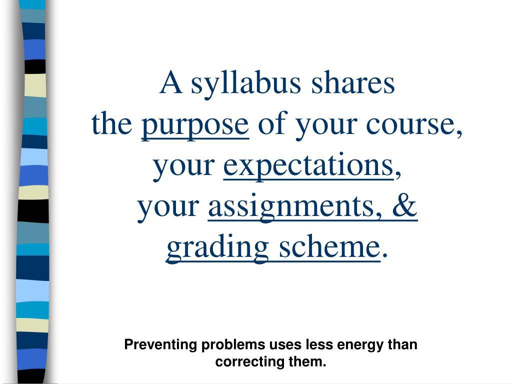 A syllabus shares