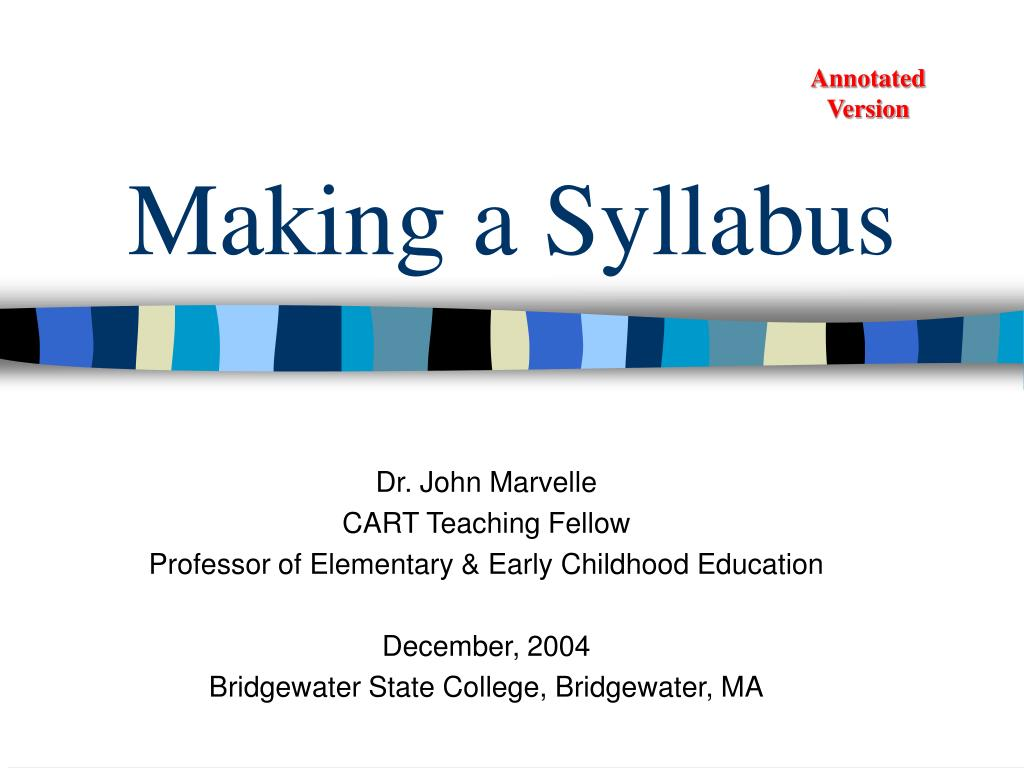 Making a Syllabus