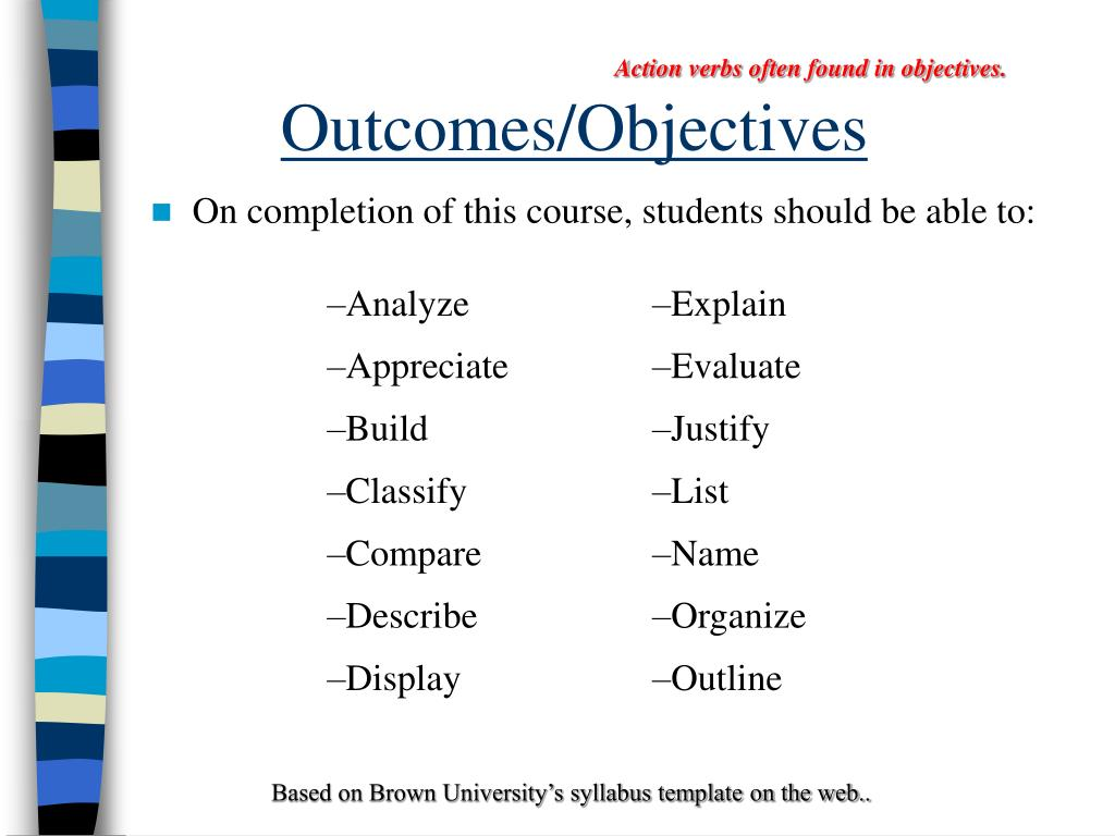 Action verbs often found in objectives.