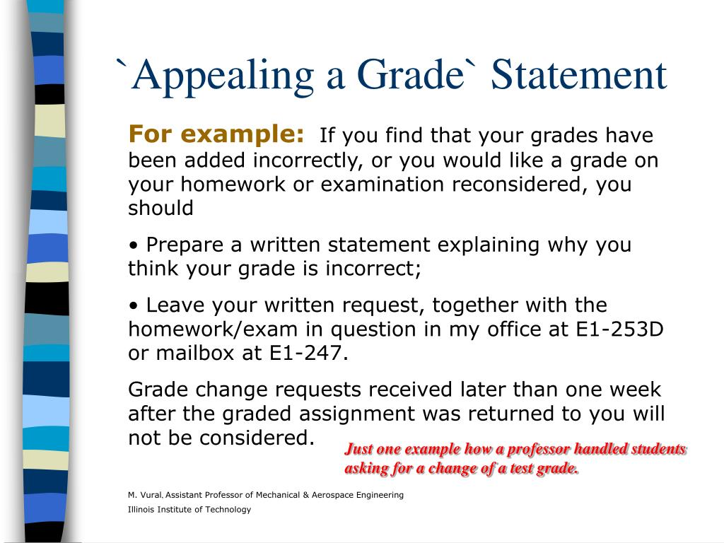 `Appealing a Grade` Statement