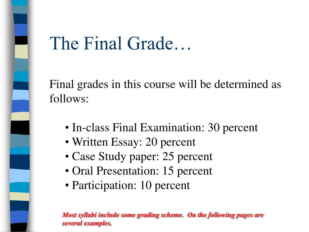 The Final Grade…