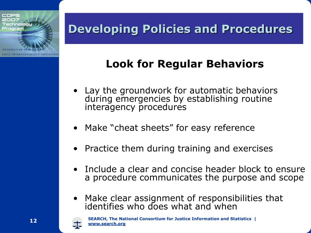 Developing Policies and Procedures