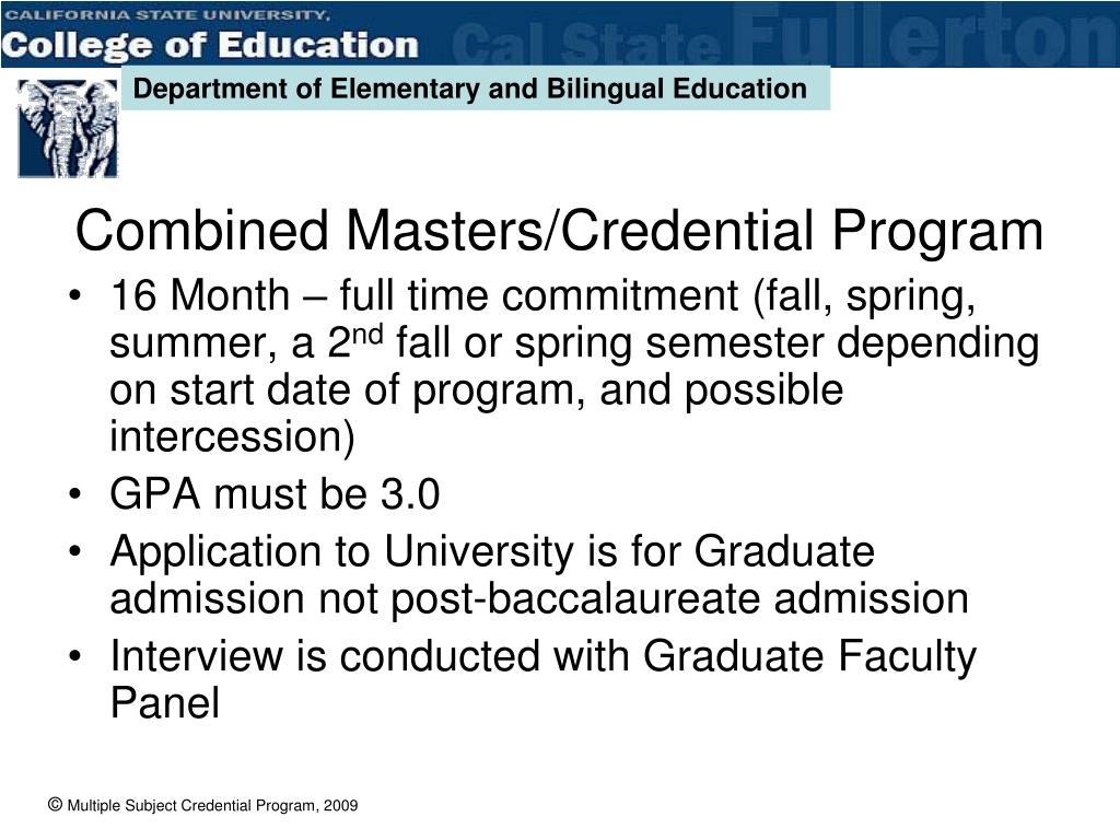 Combined Masters/Credential Program