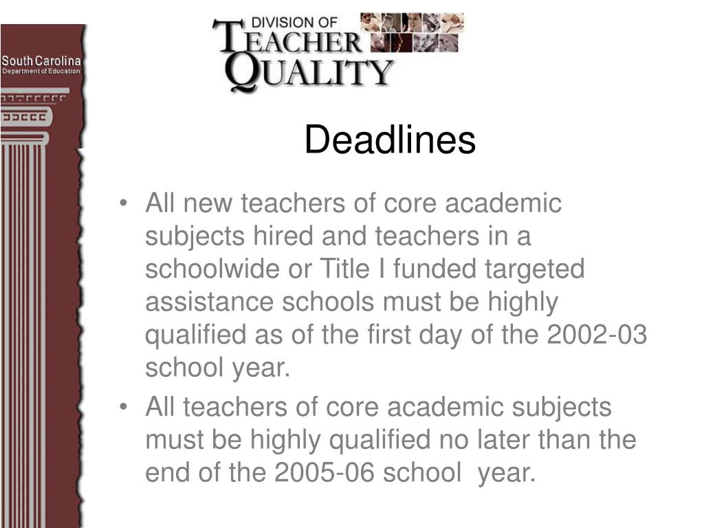 All new teachers of core academic subjects hired and teachers in a schoolwide or Title I funded targeted assistance schools must be highly qualified as of the first day of the 2002-03 school year.