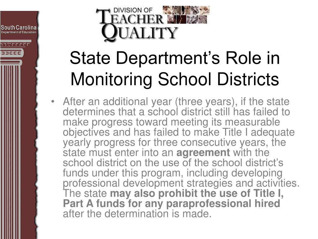 After an additional year (three years), if the state determines that a school district still has failed to make progress toward meeting its measurable objectives and has failed to make Title I adequate yearly progress for three consecutive years, the state must enter into an