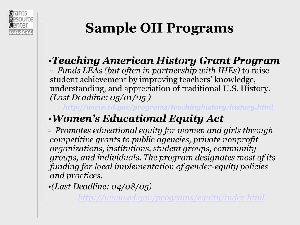Sample OII Programs