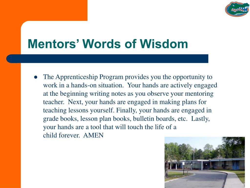 Mentors' Words of Wisdom