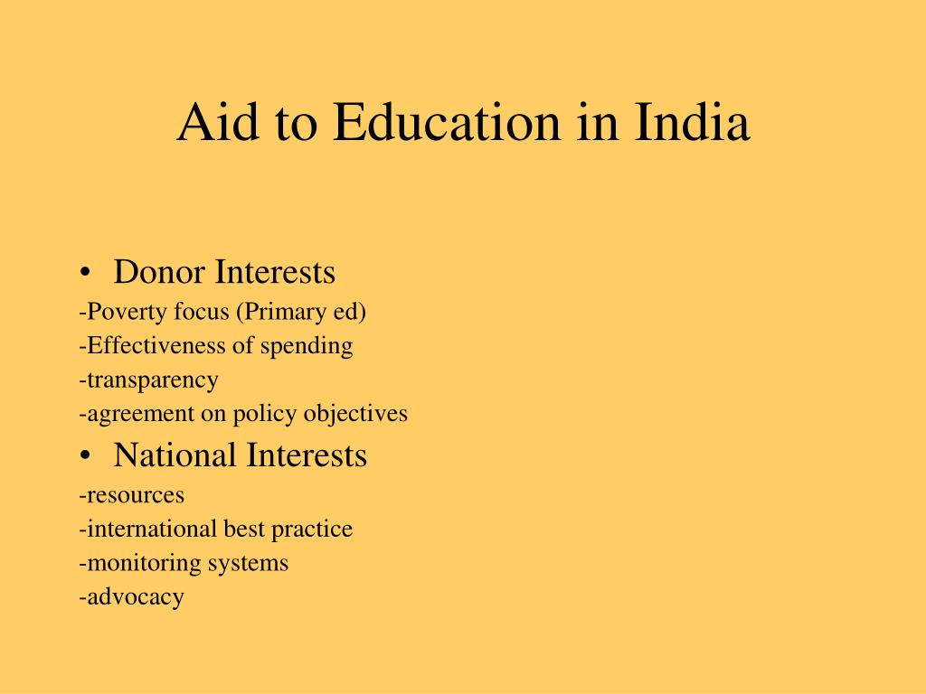 Aid to Education in India