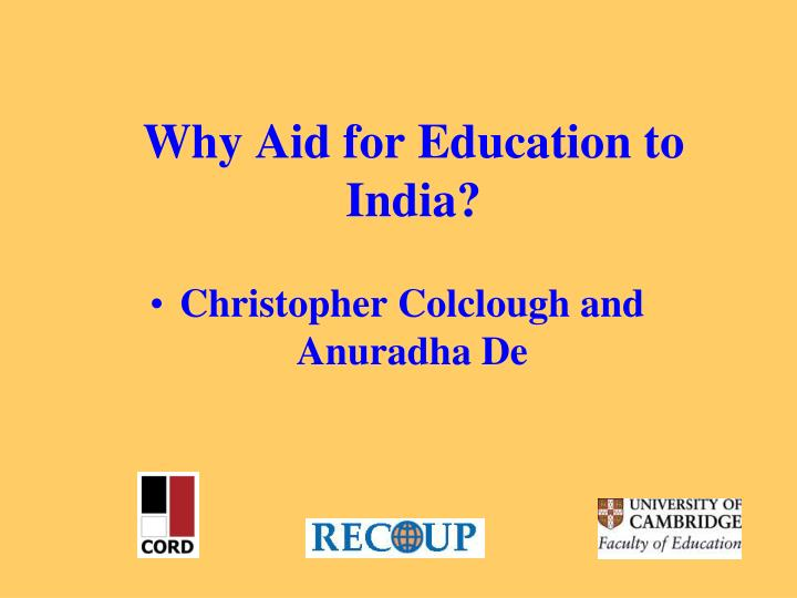 Why aid for education to india