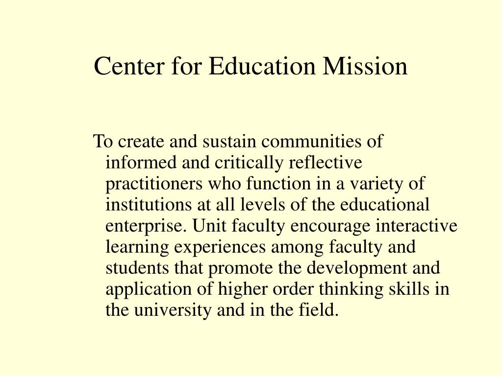 Center for Education Mission