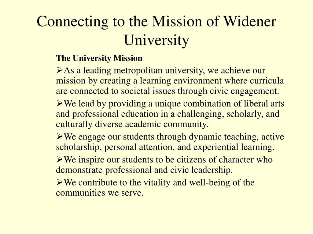 Connecting to the Mission of Widener University