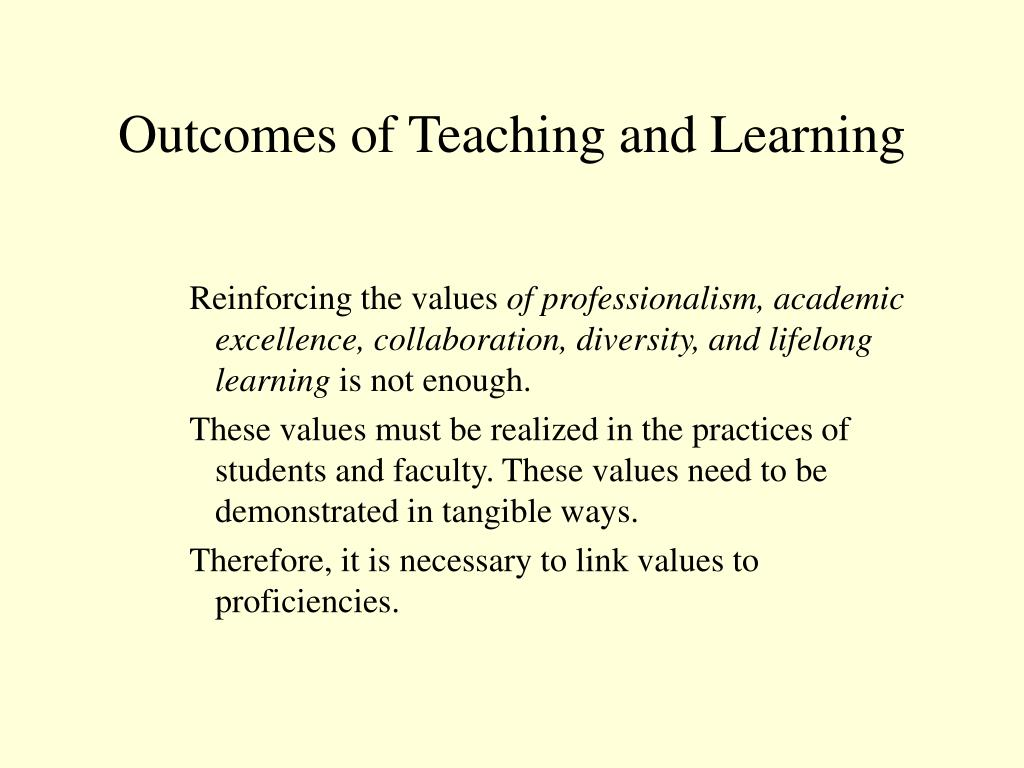 Outcomes of Teaching and Learning