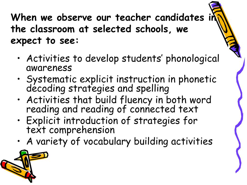 When we observe our teacher candidates in the classroom at selected schools, we expect to see: