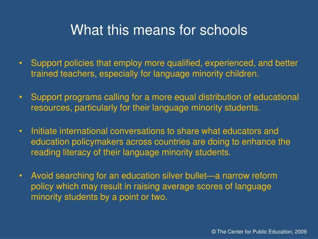 What this means for schools