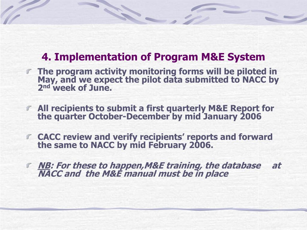 4. Implementation of Program M&E System