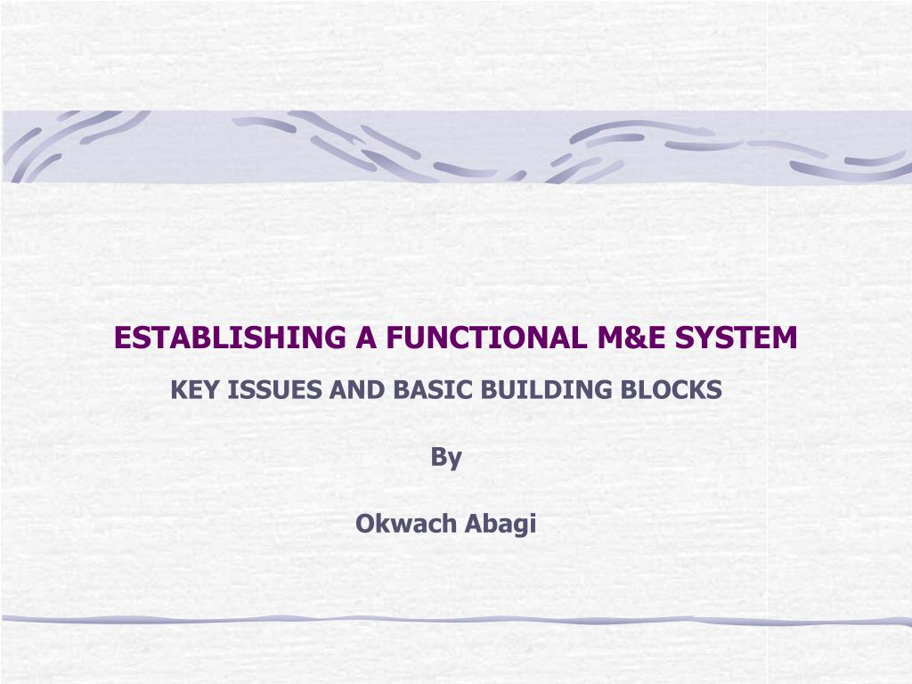 ESTABLISHING A FUNCTIONAL M&E SYSTEM
