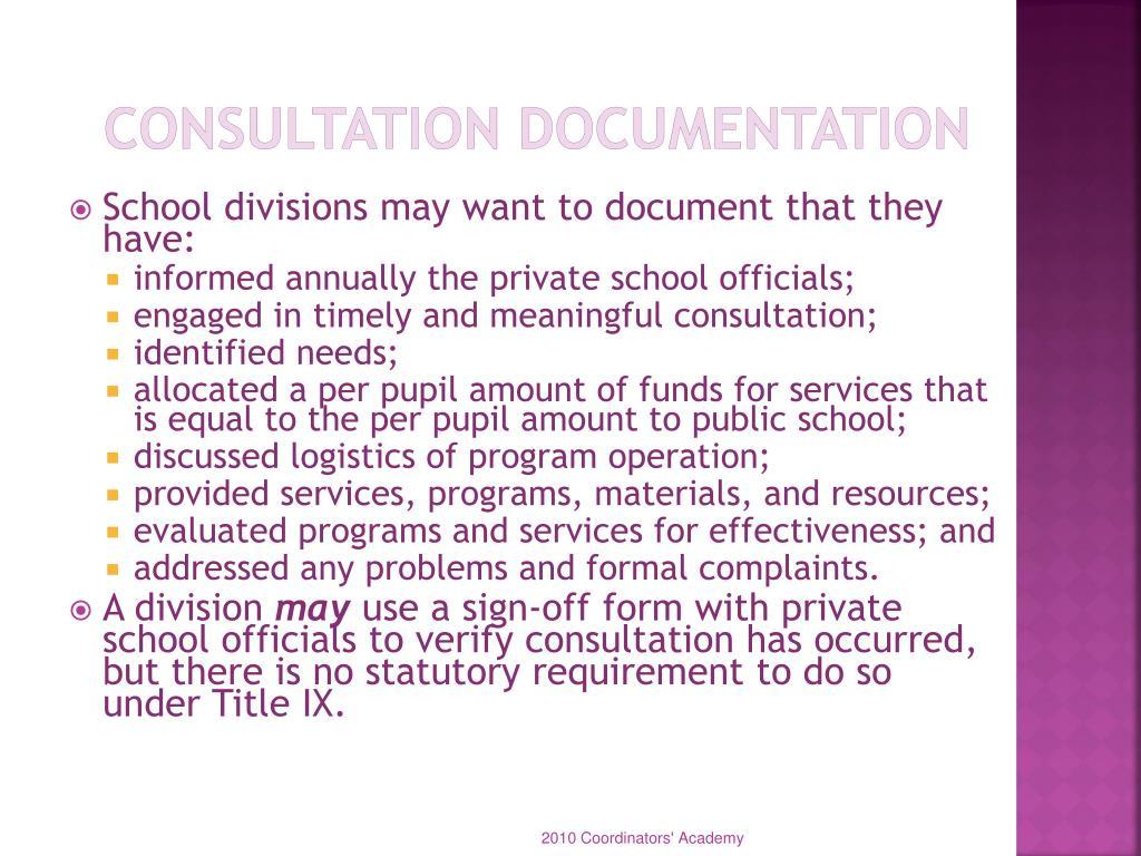 Consultation Documentation