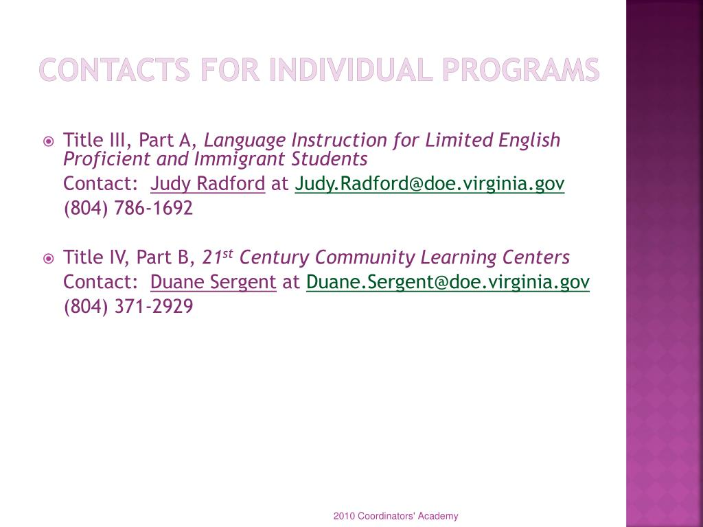 Contacts for Individual Programs