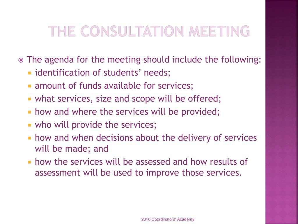 The Consultation Meeting