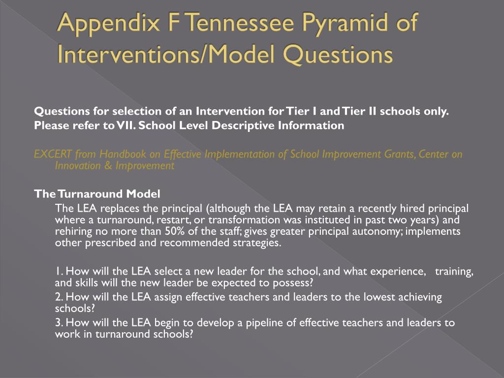 Appendix F Tennessee Pyramid of Interventions/Model Questions
