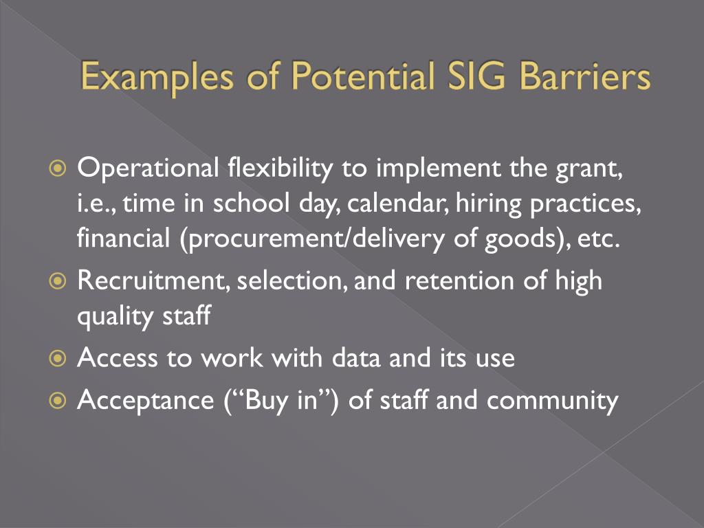 Examples of Potential SIG Barriers