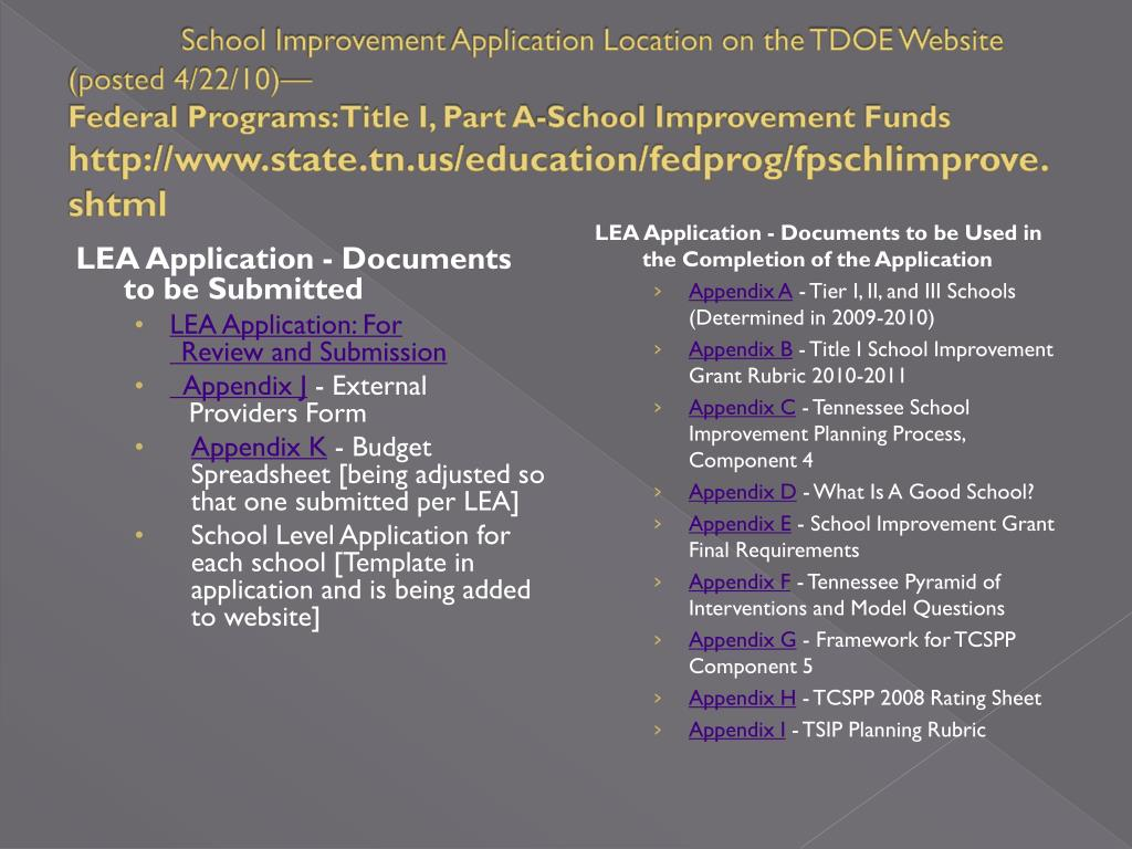 School Improvement Application Location on the TDOE Website (posted 4/22/10)—