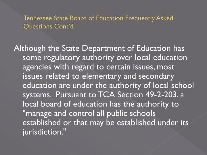 Tennessee state board of education frequently asked questions cont d