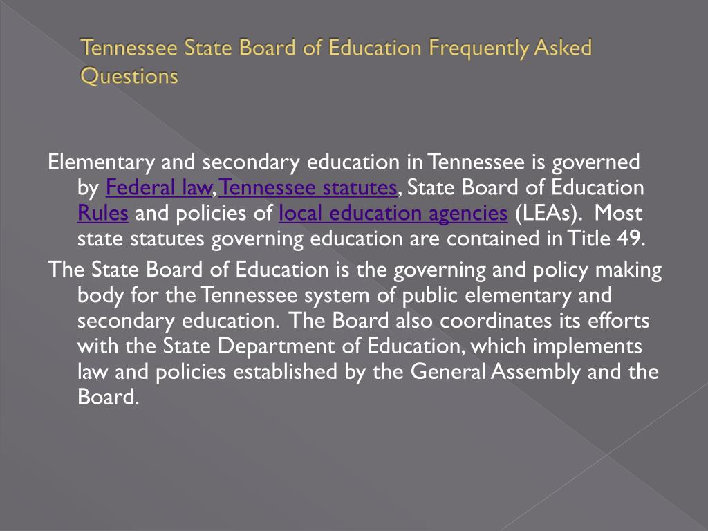 Tennessee State Board of Education Frequently Asked Questions