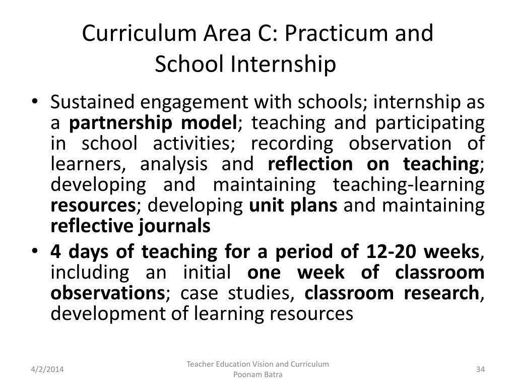 Curriculum Area C: Practicum and