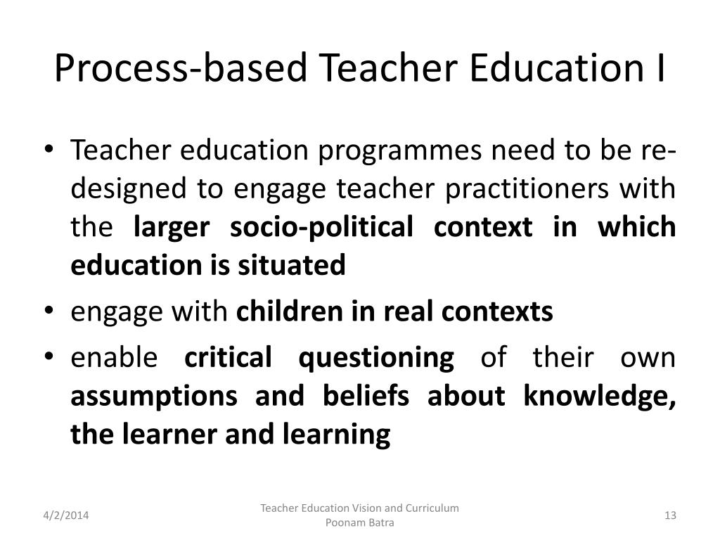 Process-based Teacher Education I