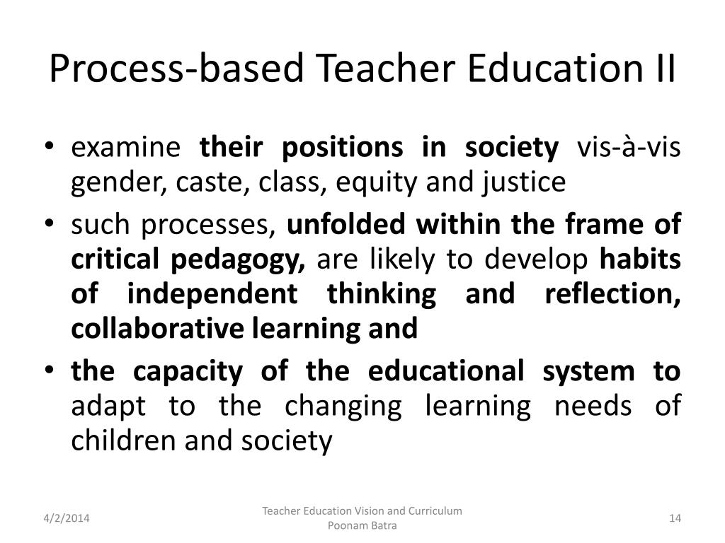 Process-based Teacher Education II