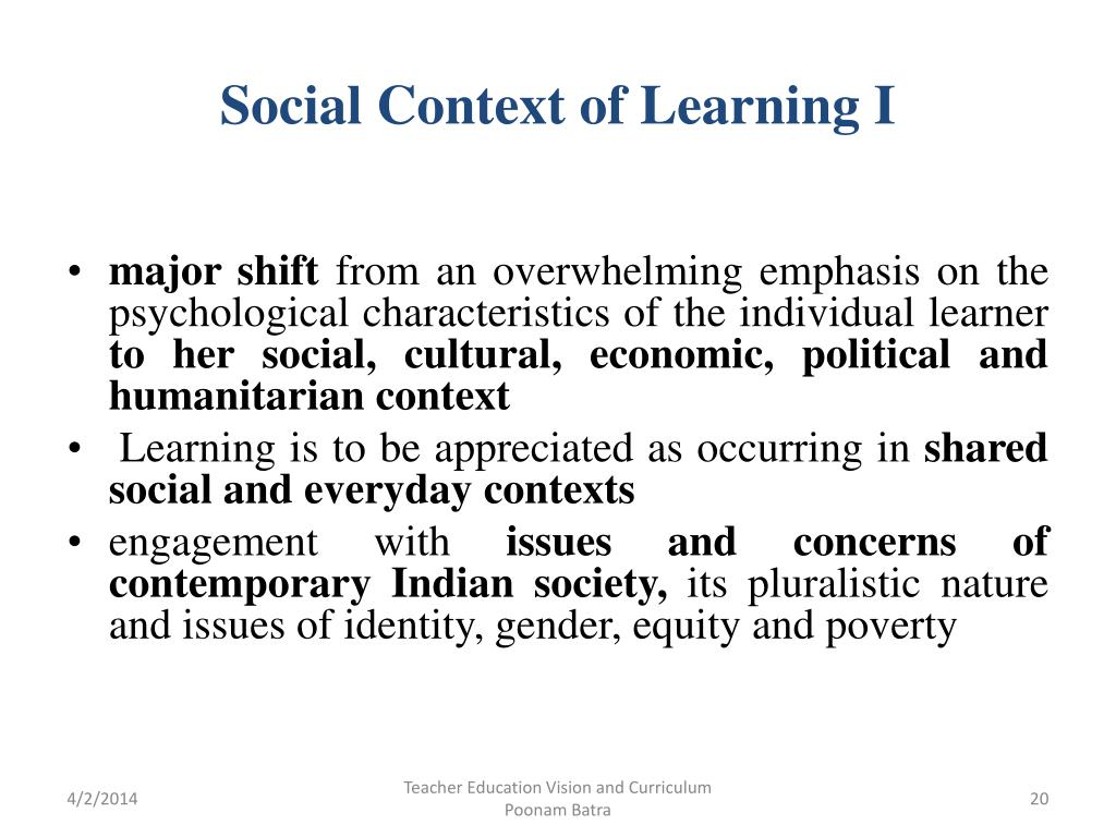 Social Context of Learning I