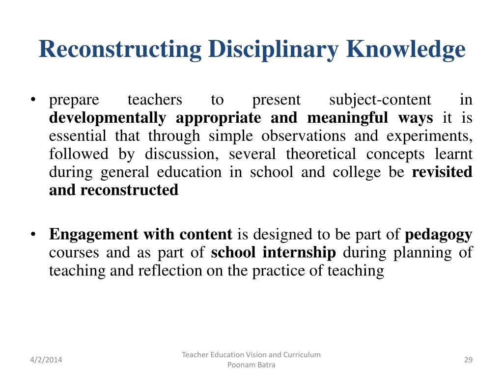Reconstructing Disciplinary Knowledge