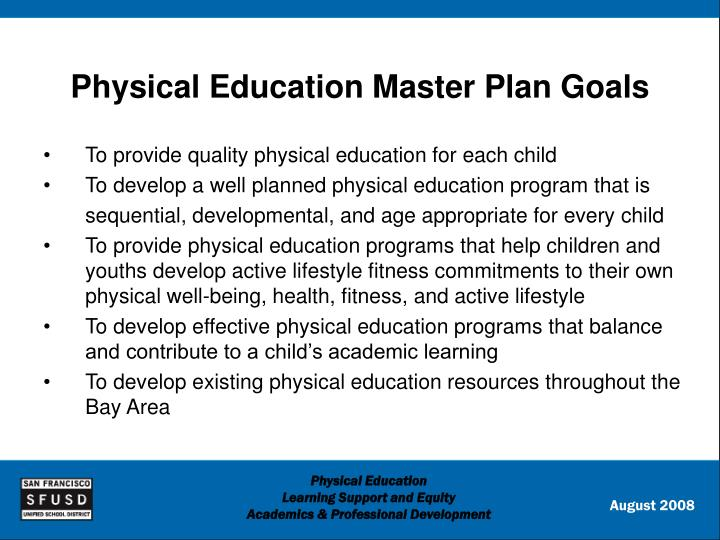 Physical education master plan goals
