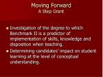 moving forward a step grant