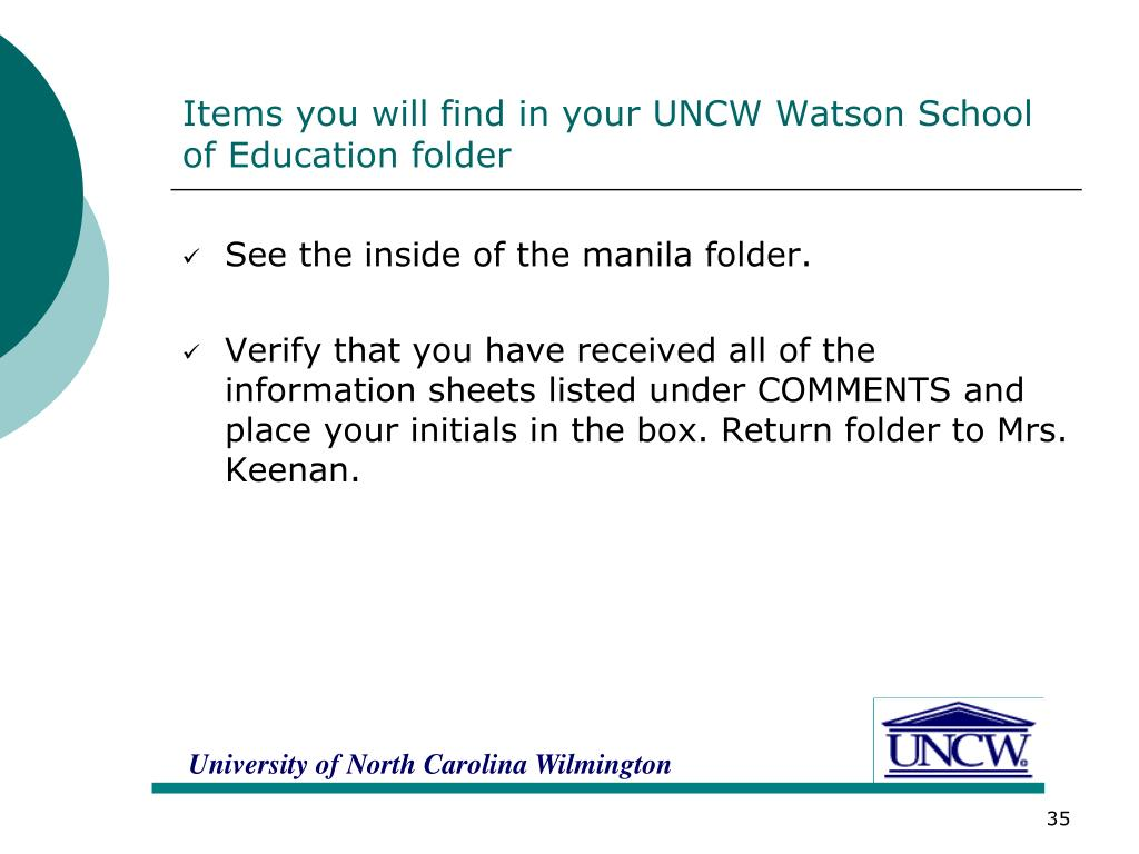 Items you will find in your UNCW Watson School of Education folder