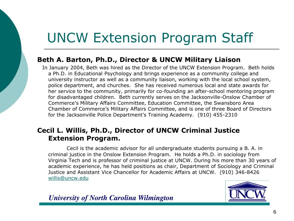 UNCW Extension Program Staff