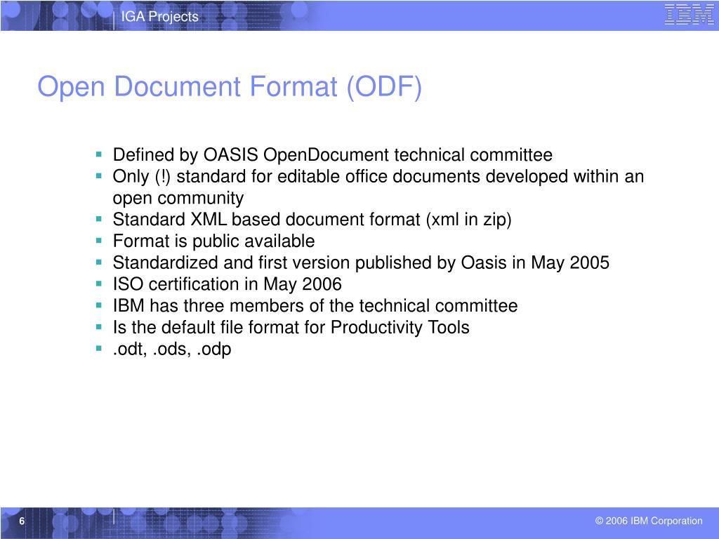 Open Document Format (ODF)
