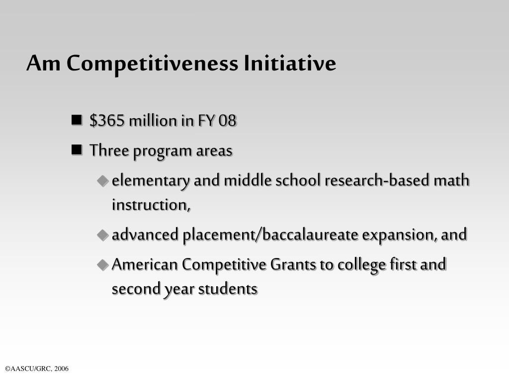 Am Competitiveness Initiative