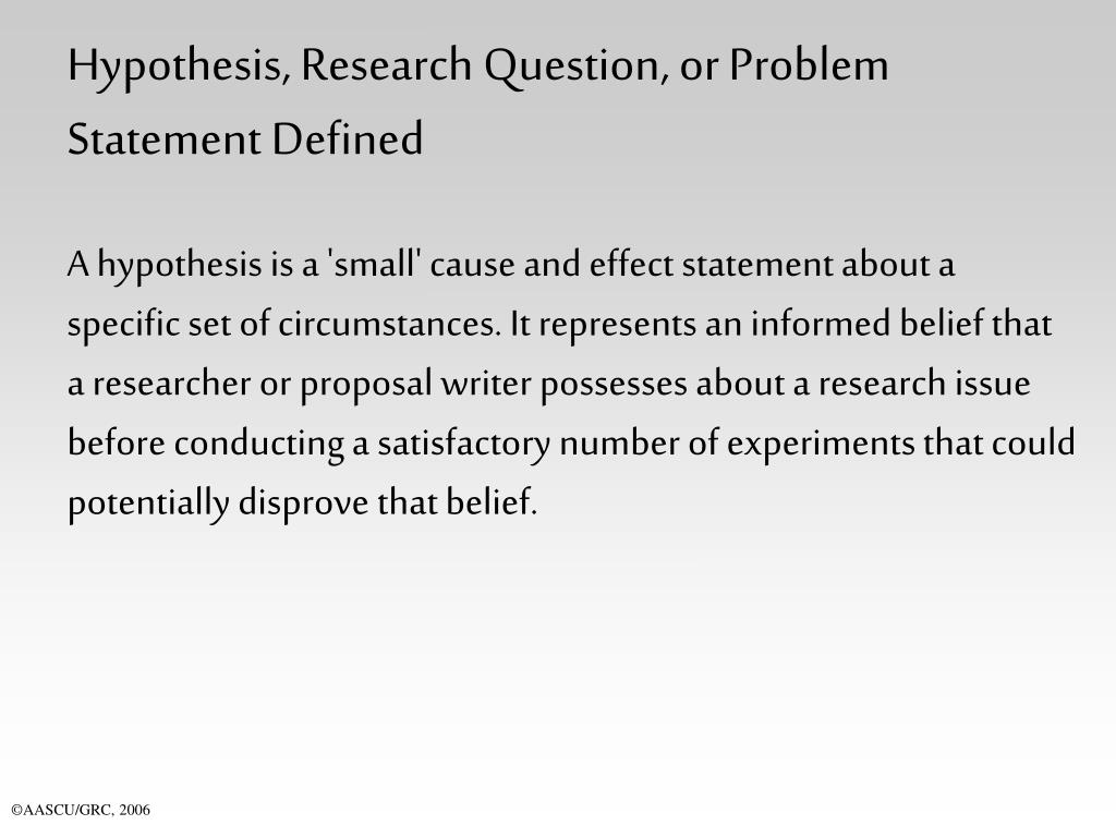 Hypothesis, Research Question, or Problem Statement Defined