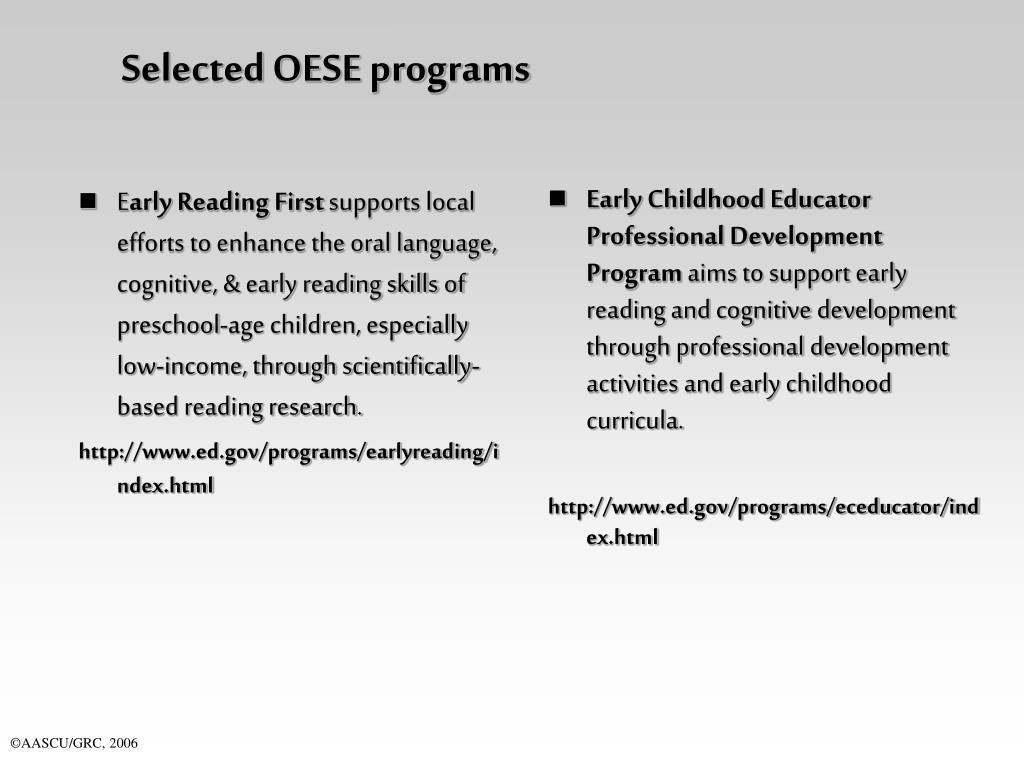 Selected OESE programs